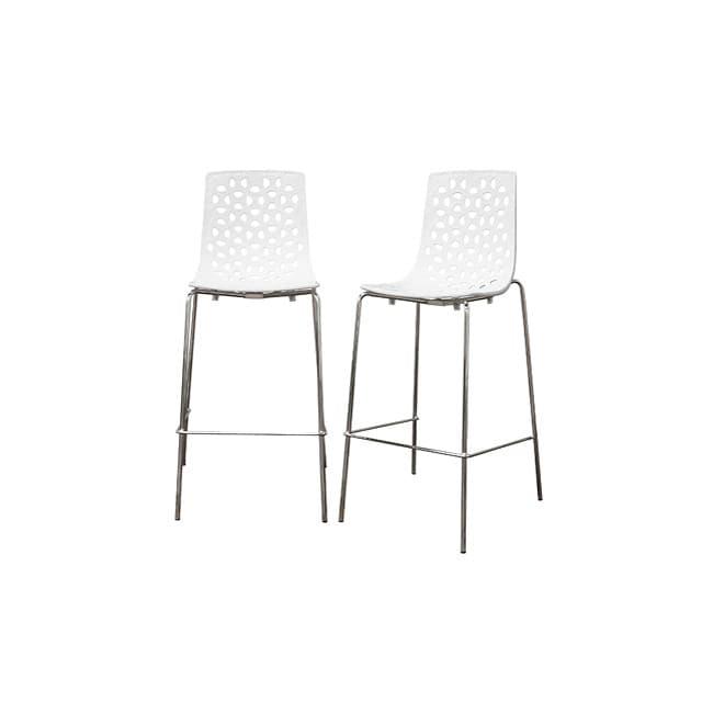 Spring white plastic modern bar stool set of 2 free shipping today 13529146 - Witte plastic stoel ...