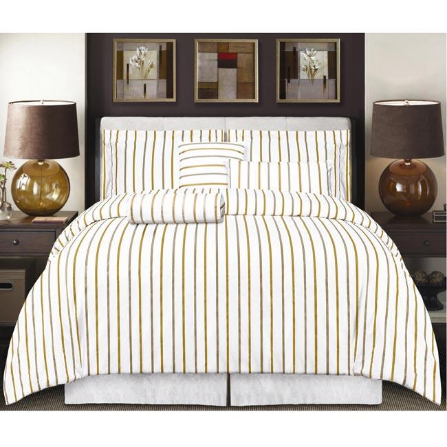 Ibiza Cotton Twill Striped 3-piece King Duvet Cover Set