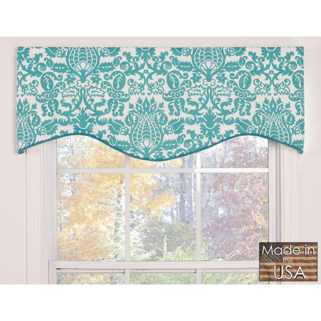 Turquoise Damask Cotton M Shaped Valance Free Shipping