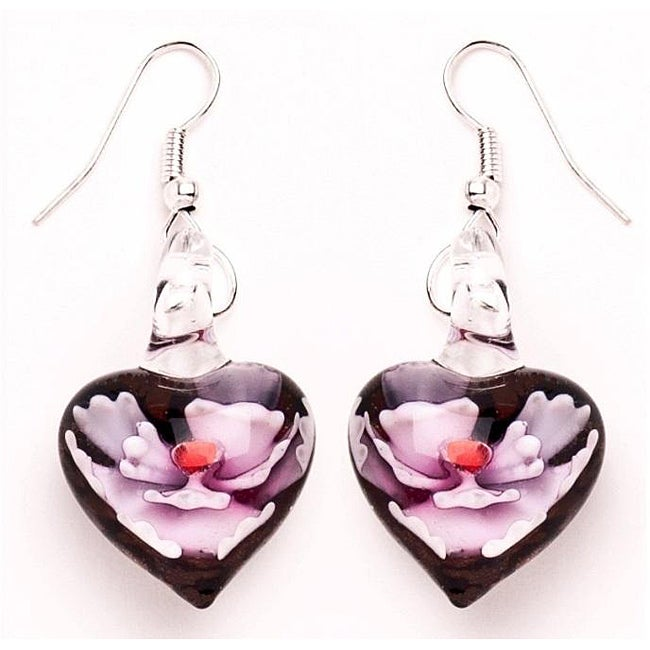 Murano-inspired Glass Pink and Black Heart Earrings