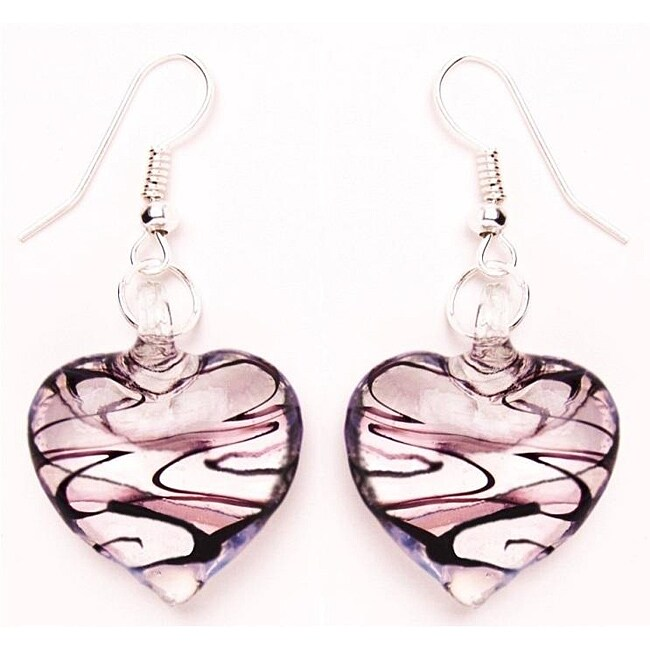 Murano-inspired Glass Purple and Clear Heart Earrings - Thumbnail 0