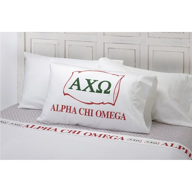 Excel Alpha Chi Omega Cotton Sateen 400 Thread Count Sheet Set