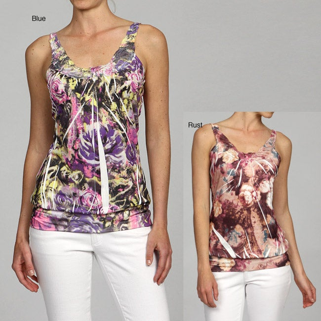 Simply Irresistible Women's Floral Sublimation Butterfly Sleeveless Top