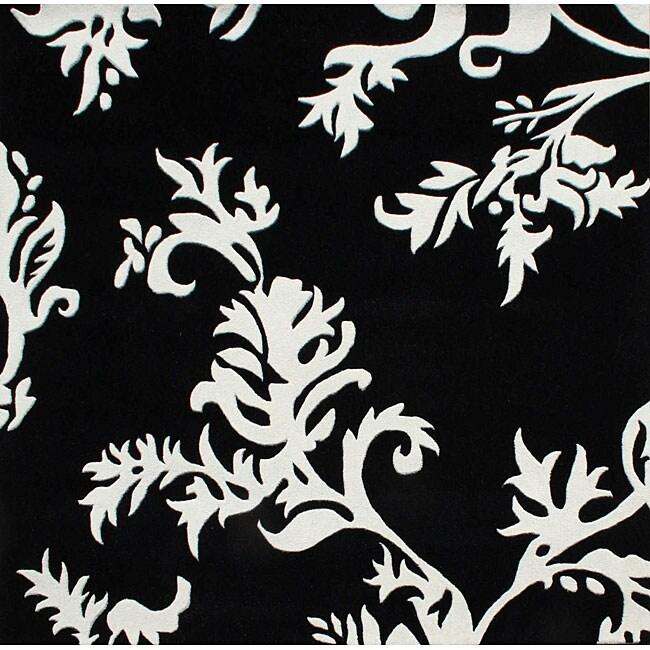 Alliyah Handmade New Zeeland Blend Off White Flora Rug (6' Square)