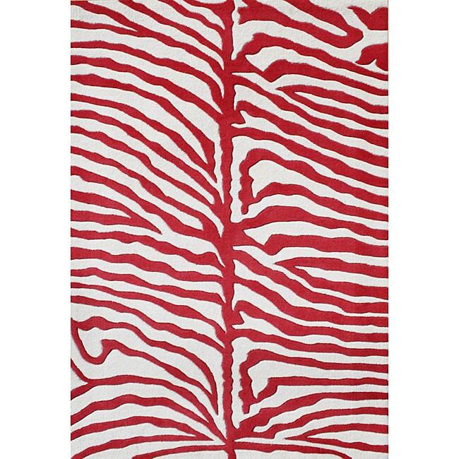 Alliyah Handmade New Zeeland Blend Zebra Off White Rug (5' x 8')