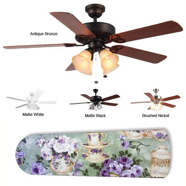 New Image Concepts 4-light Purple Rose Tea Party Blade Ceiling Fan