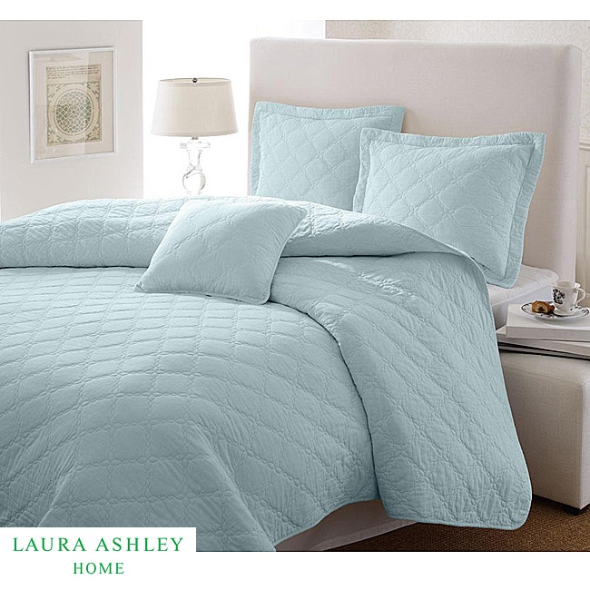 Laura Ashley Full Queen Size Light Blue 3 Piece Quilt Set Free