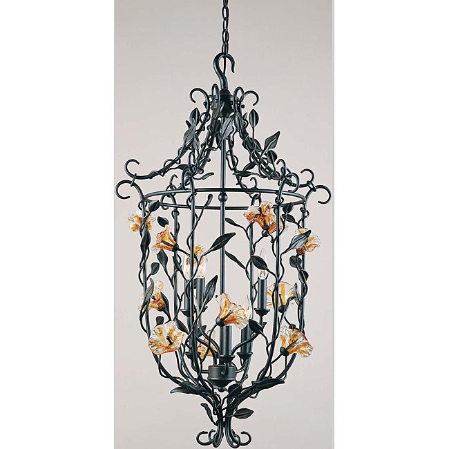 Amber Mist Blacksmith Bronze 6-light Foyer Chandelier - Thumbnail 0