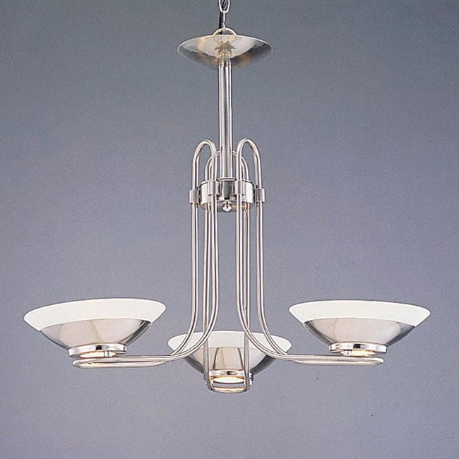 Halogen Brushed Steel 3-light Chandelier