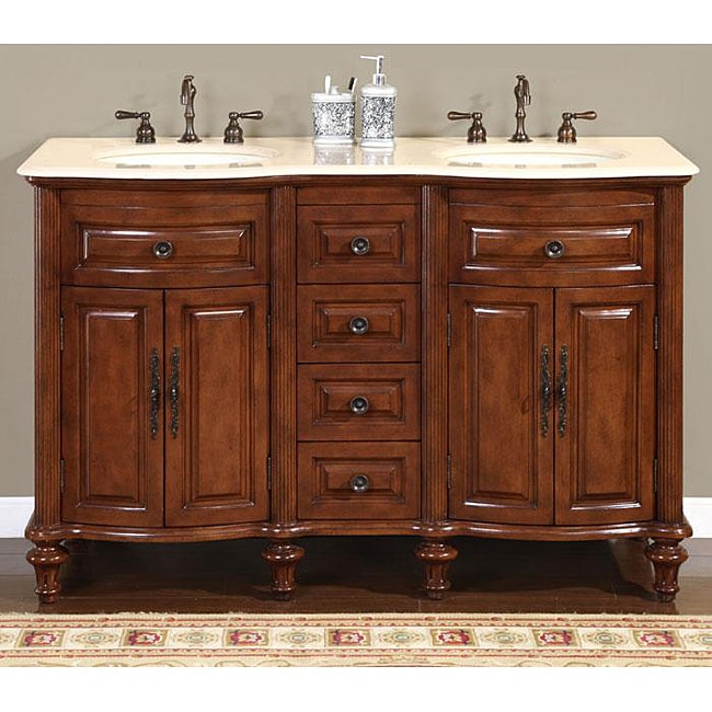 Silkroad exclusive wood and crema 55 inch marble double bathroom vanity free shipping today for 55 inch double sink bathroom vanity