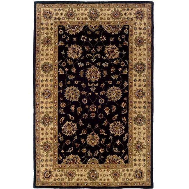 Hand-tufted Black Oriental Wool Rug (5' x 8')