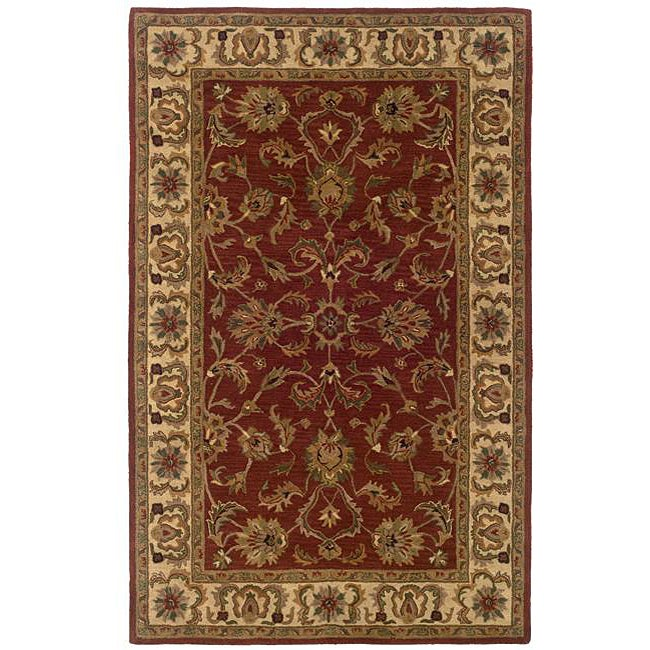 Hand-tufted Red Oriental Wool Rug (5' x 8') - 5' x 8'