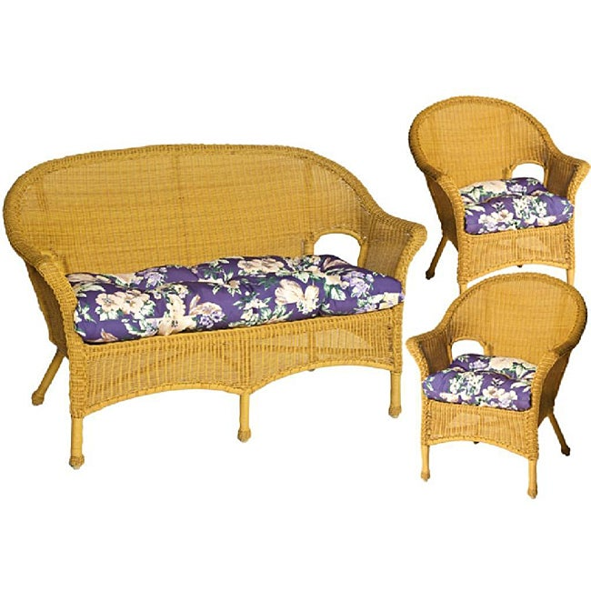 Pia Floral Purple Wicker Chair and Love Seat Cushions (Set of 3) - Free Shipping Today ...