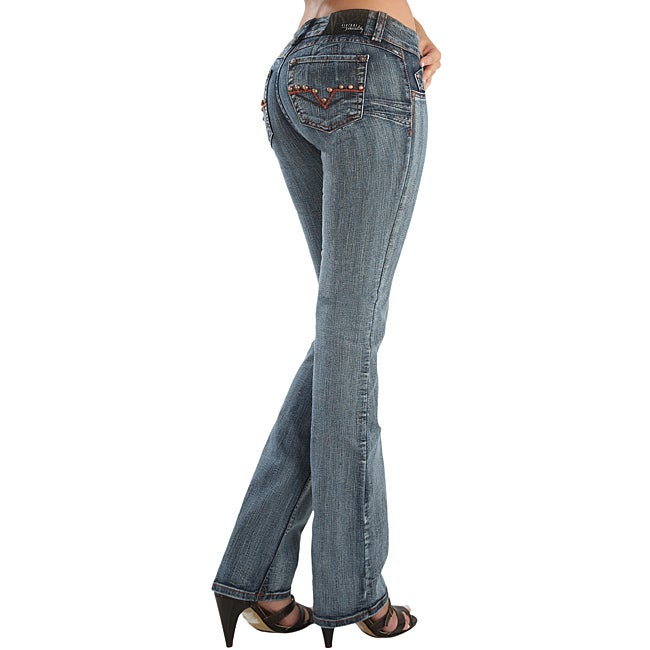Virtual Sensuality Women's 'Louisa' Black Stretch Push Up Jeans