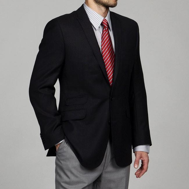 Ben Sherman Men's Charcoal Mini-Tic Wool Slim-fit Sportcoat