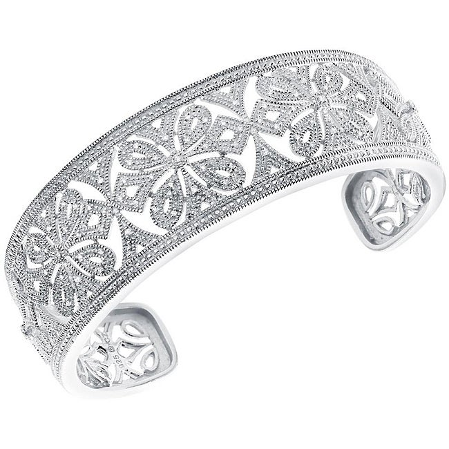Sterling Silver 1/6ct TDW Diamond Ornate Cuff Bracelet  By Ever One (H-I, I3)