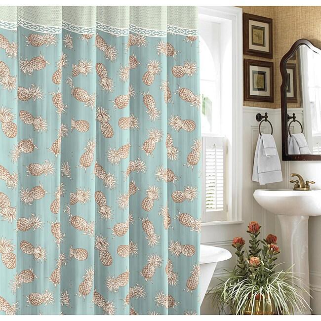 Tommy Bahama Pineapple Island Blue Shower Curtain