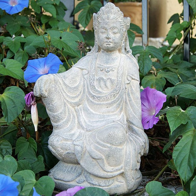 Superbe Volcanic Ash Stone Washed Quan Yin Statue, Handmade In Indonesia