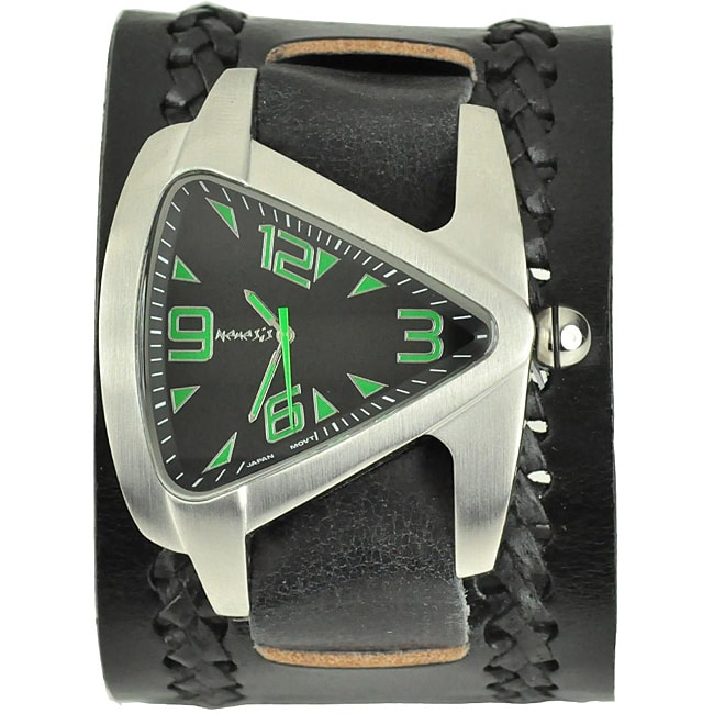 Nemesis Men's Green Triangle Leather Band Watch