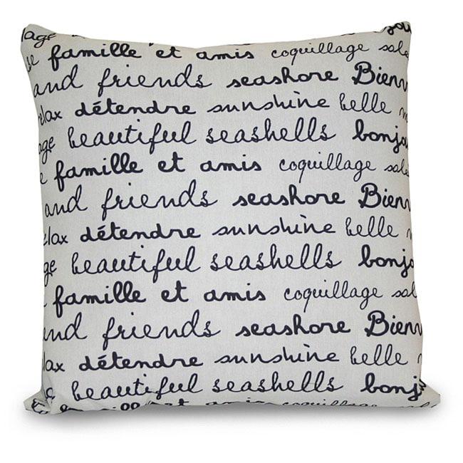 Thro French Beach Words Outdoor Black/ White Decorative Pillow