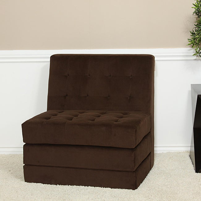 Brown Fold-out Microfiber Chair Sleeper Bed - Free ...