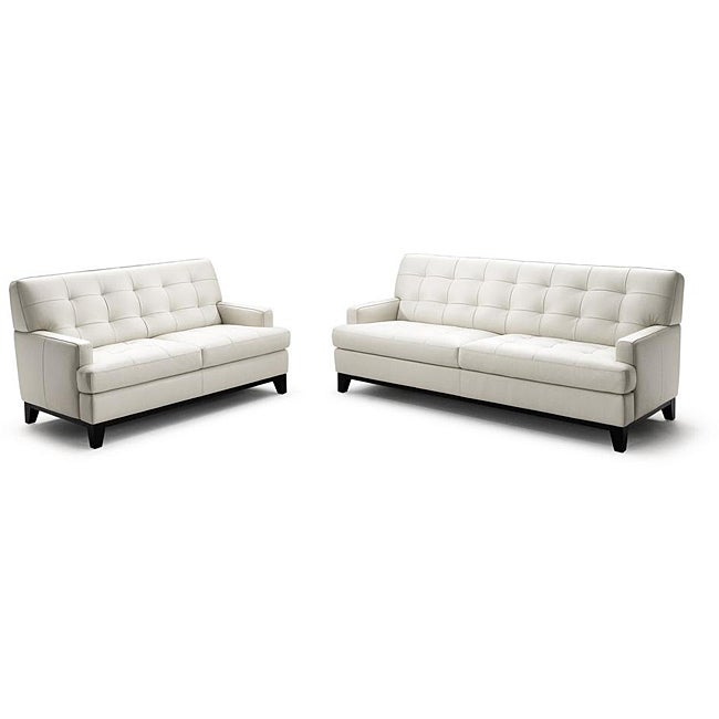 Adair White Leather Modern Sofa Set Free Shipping Today