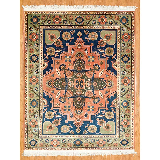 Afghani Hand-knotted Orange/ Green Oushak Wool Rug (7'3 x 9'4) - Thumbnail 0