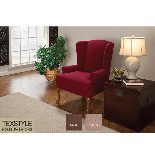 TexStyle Hawthorne Stretch T Cushion Wing Chair Slipcover