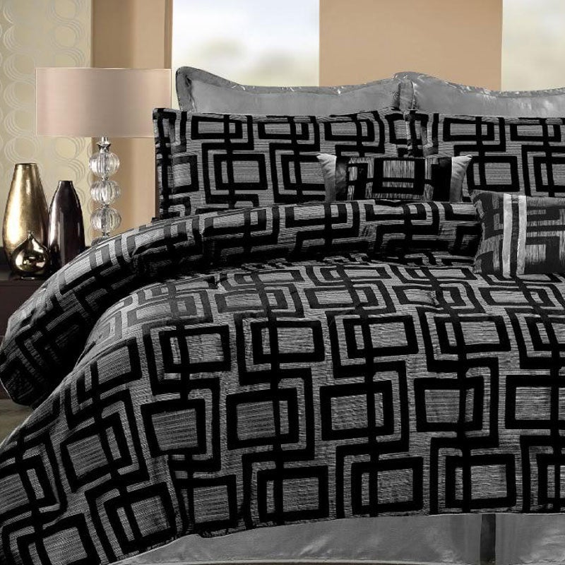 Geo Hotel Black/ Silver Queen-size 8-piece Comforter Set