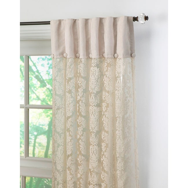 Damask lace inverted pleat 120 inch curtain panel pair for 120 inch window sheers