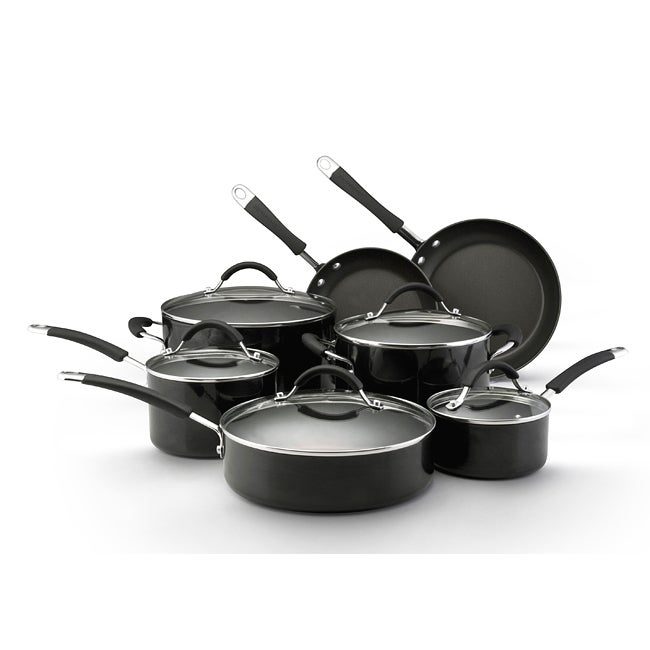 KitchenAid Porcelain Black 12-pc Nonstick Cookware Set - Thumbnail 0