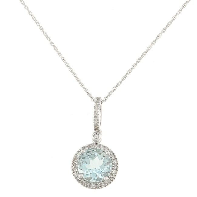 10k White Gold Aquamarine and 1/6ct TDW Diamond Necklace (H-I, I1-I2)