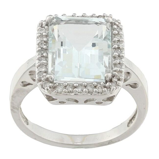 10k White Gold Aquamarine and 1/5ct TDW Diamond Ring (J-K, I1-I2)