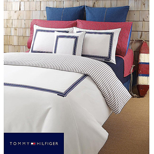Tommy Hilfiger Oxford White Twin Size Duvet Cover Free