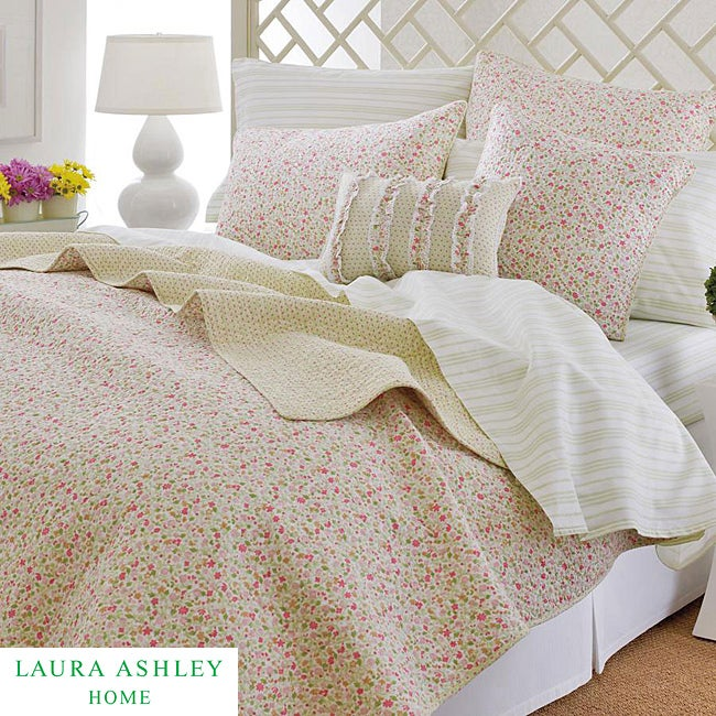 Laura Ashley Sophie Pink Floral 3 Piece King Size Quilt Set Free Shipping Today Overstock