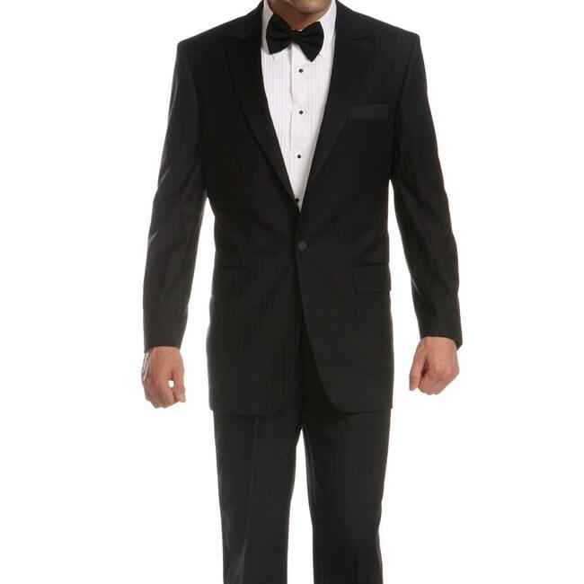 Ferrecci Men's Black Peaked Lapel Tuxedo