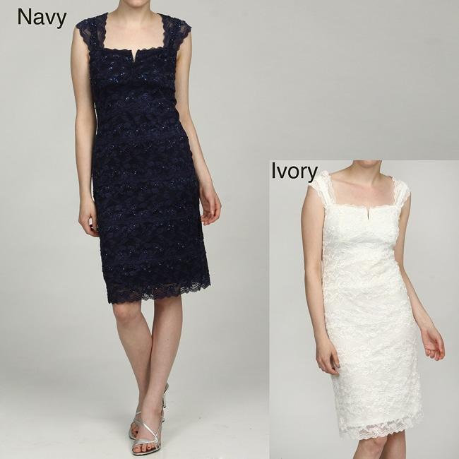 Marina Women's Lace Beaded Sequins Dress