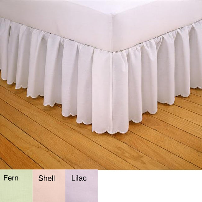 Embroidered Scalloped 21-inch Drop Bedskirt