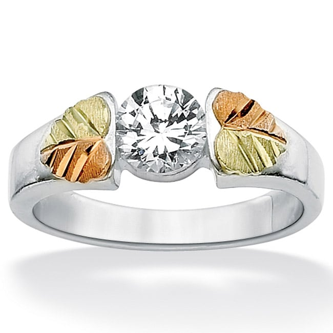 Ultimate CZ Black Hills Gold and Sterling Silver Cubic Zirconia Ring