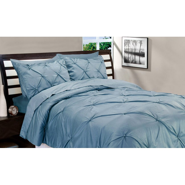 Matte Satin Silver Blue Down Alternative 3-piece Comforter and Sham Set