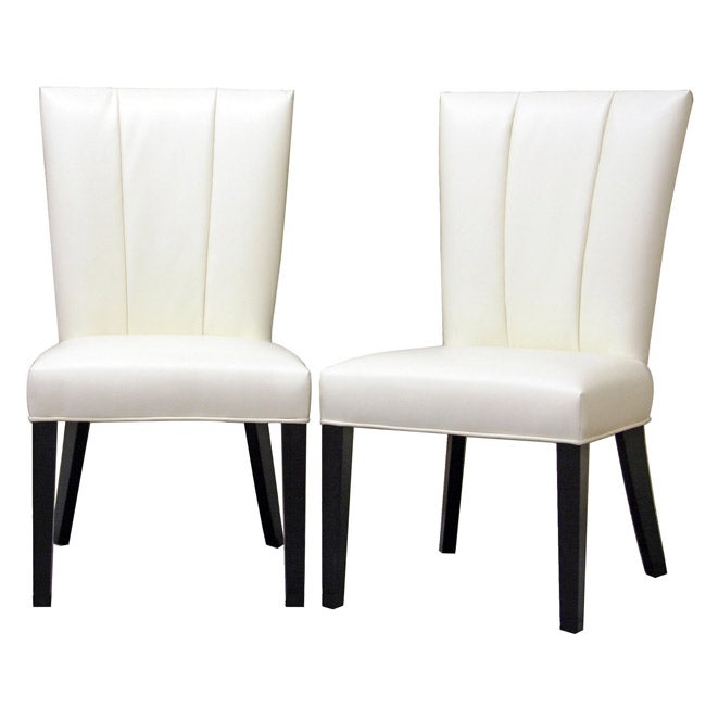 White Leather Dining Room Set: Janvier Off-White Leather Dining Chair (Set Of 2)