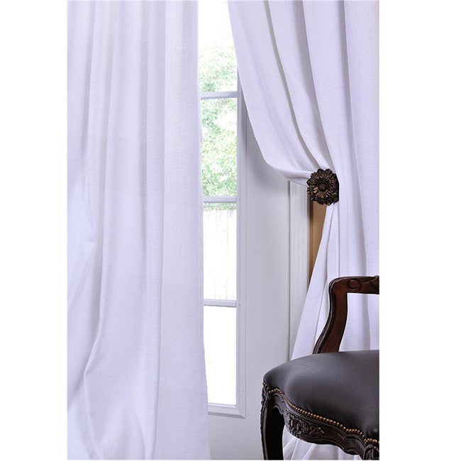 Exclusive Fabrics White Textured Cotton Linen 108-inch Curtain Panel