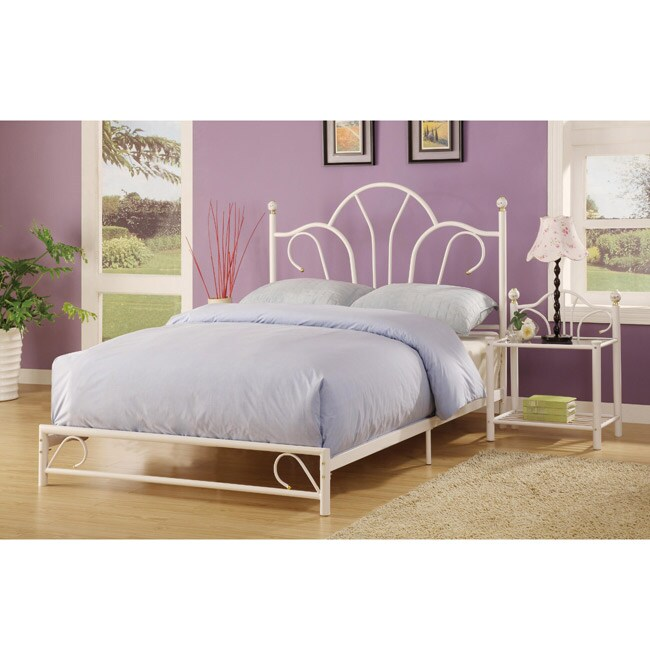 Shop Kelly White Metal Art Deco Bed Frame Set Free Shipping Today