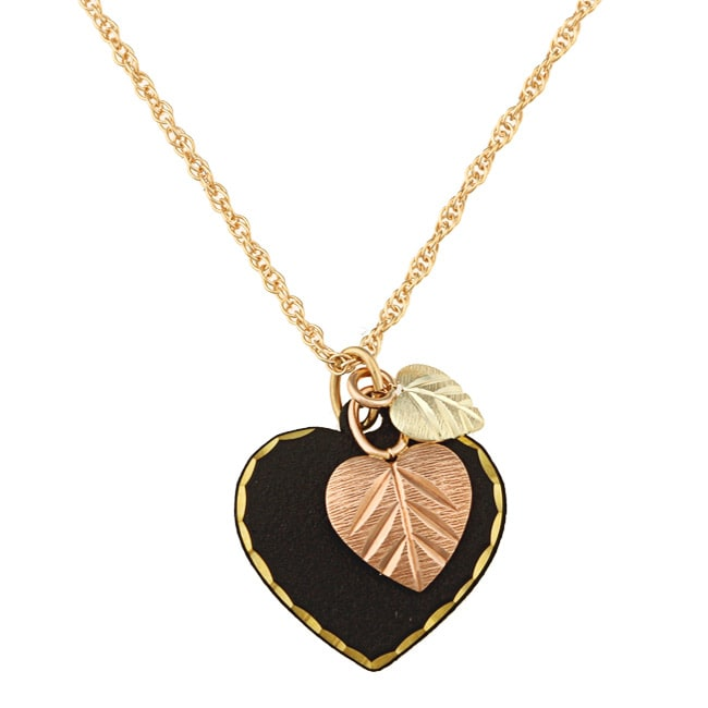 Black Hills Gold Black Powder-coated Brass Heart Necklace - Thumbnail 0