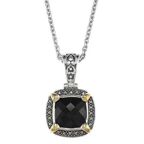 "MARC Sterling Silver Black Onyx & Marcasite w/ Gold trim Pendant 18"""