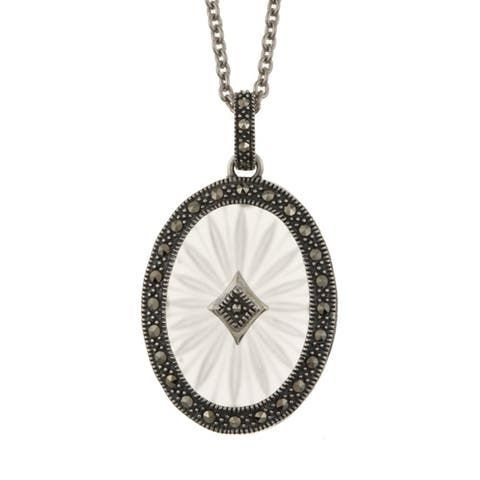 "MARC Sterling Silver White Sunray Crystal and Marcasite Pendant 18"" - Silver white"