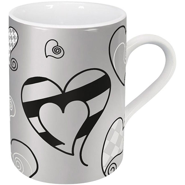 Konitz Pattern Hearts Mugs (Set of 4)