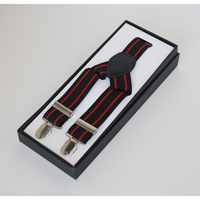 Ferrecci Men's Black Striped Suspenders
