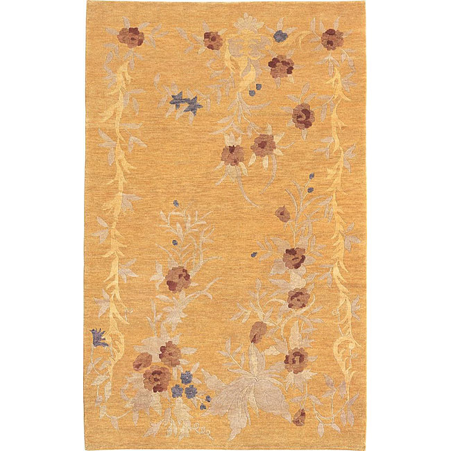 Hand-knotted 'Jasmine' Gold Wool Rug (6' x 9')
