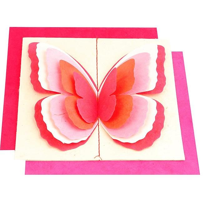 Set of 5 Lokta Paper 3D Pink Magic Butterflies Note Cards (Nepal)